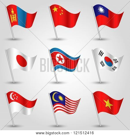 Vector Set Of Nine Flags - Waving Simple Triangle Vietnamese, Singaporean, Taiwanese, Korean, Japane