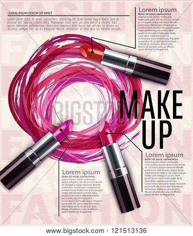 vector template for advertising makeup and lipstick