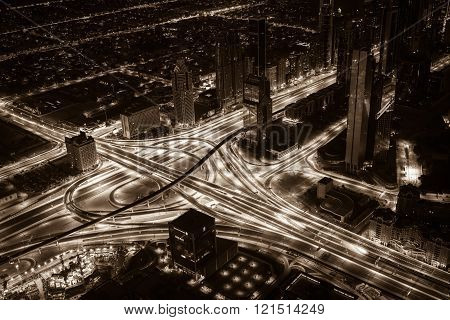 Dubai Downtown Night Scene With City Lights. Top View