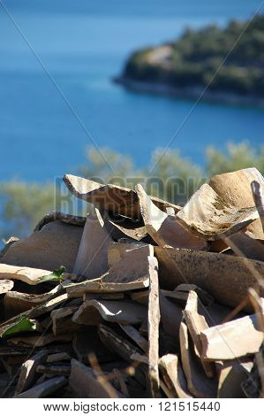 Greece sea with roof tiles