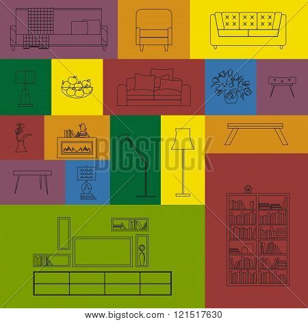 Vector collection of modern outline furniture icon set.