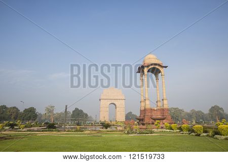 morning view of canopy and India Gate at rajpath New Delhi India