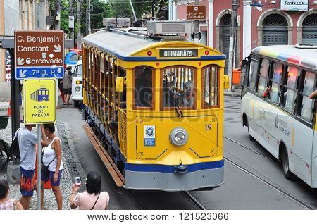 Old-fashioned Bonde Tram Stands Empty On The Streets Of Santa Te