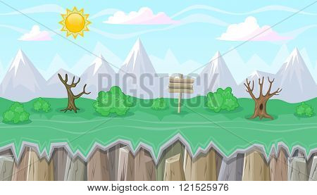 Seamless Editable Mountainous Landscape With Dry Trees For Game Design