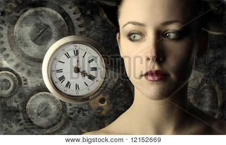 portrait of beautiful girl with clock and gears