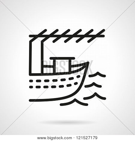 Fishing boat black line design vector icon