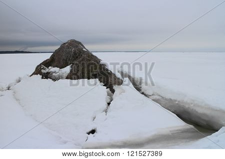 seascape rock under the ice