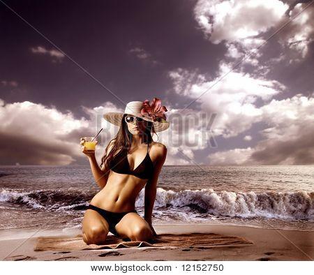 beautiful woman in bikini on the beach