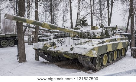 MOSCOW RUSSIA-DECEMBER 15- T-80B-The world's first serial tank with a gas turbine engine nicknamed the