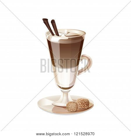 Glass Cup Of Coffee Latte Isolated On White Background.
