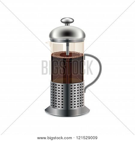 Glass teapot with black coffee isolated on a white background.