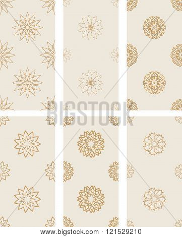 Floral Seamless Golden Patterns.