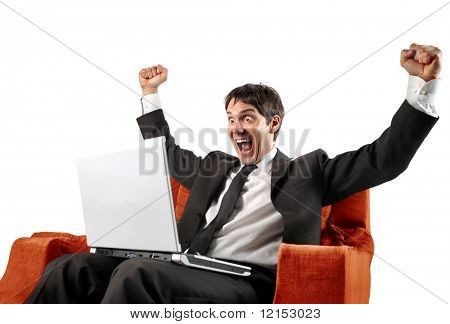 successful businessman with laptop