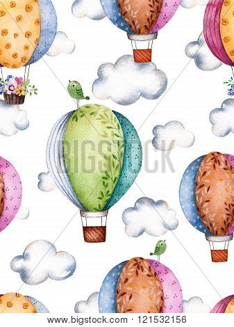Seamless pattern with air balloons and clouds