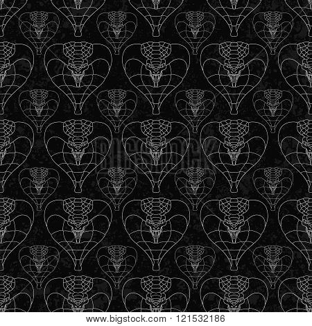 seamless pattern of abstract cobras painted on grunge stone wall background with flame sparks