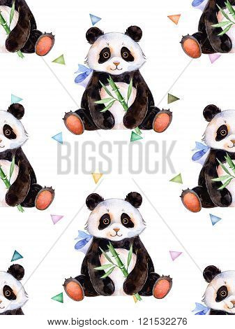 Seamless texture with multicolored triangles and cute Panda