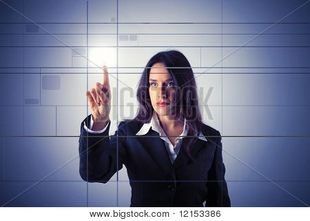 business woman pressing a digital button