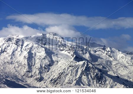Winter Snowy Mountains At Nice Sunny Day
