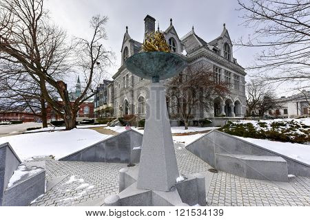 Concord, New Hampshire - February 15, 2016: New Hampshire Legislative Office Building Concord New Hampshire USA. Legislative Office Building built in 1884 with Victorian style was formerly post office of Concord.