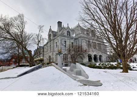Concord, New Hampshire - March 13, 2016: New Hampshire Legislative Office Building, Concord, New Hampshire, USA. Legislative Office Building, built in 1884 with Victorian style, was formerly post office of Concord.