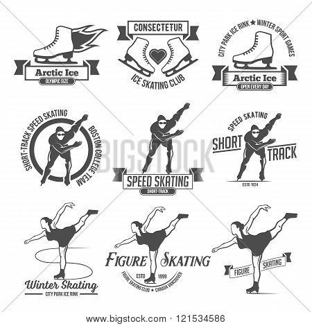 Ice Skating label logo set