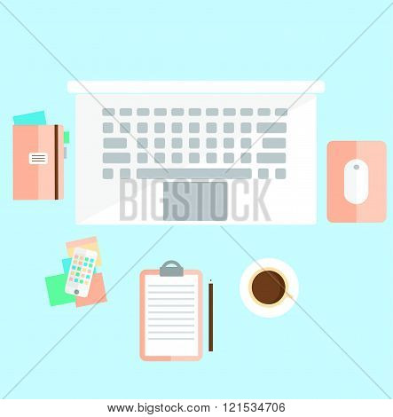 Workspace Illustration In Light Colors