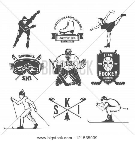 Winter sport badges set