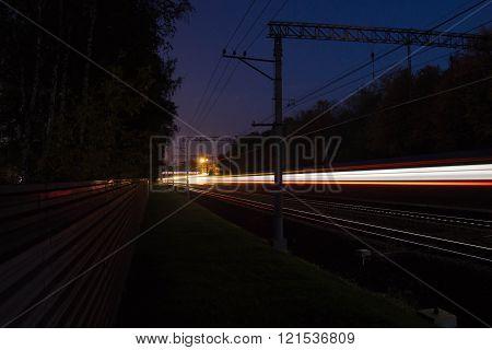 Movement On Railroad Tracks At Night