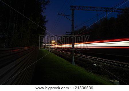 Movement On Railroad Tracks Outside The City