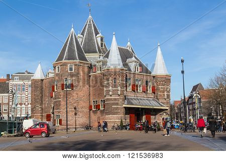 AMSTERDAM NETHERLANDS - 16TH FEBRUARY 2016: The outside of The Waag (