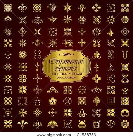 Vector set of 90 ornamental elements in gold