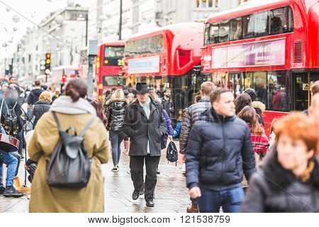 Crowded Oxford Street In London