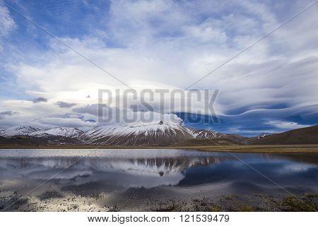 Castelluccio di Norcia and Mount Vettore in winter.  Landscape in the national park of the Sibillini mountains in Italy