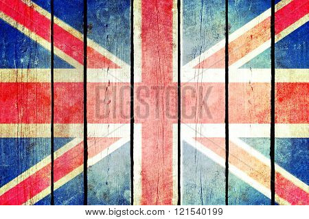 Great Britain Wooden Grunge Flag.