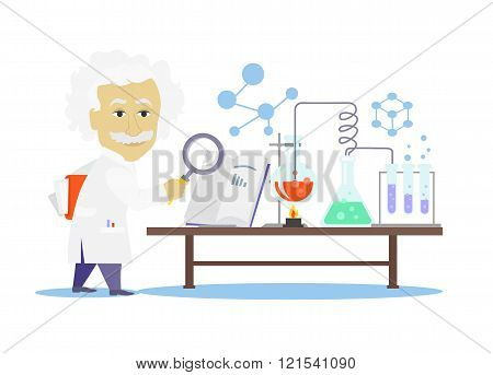 Biology Laboratory Workspace and Science Equipment