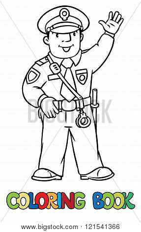 Funny Policeman. Coloring Book