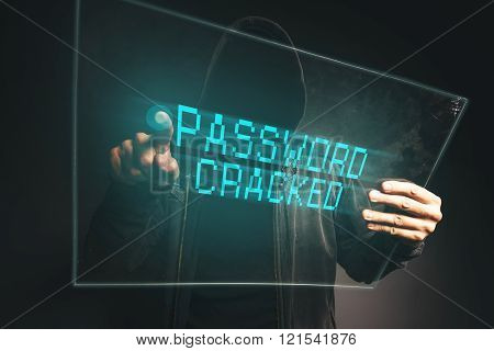 Password Cracked, Unrecognizable Computer Hacker Stealing P