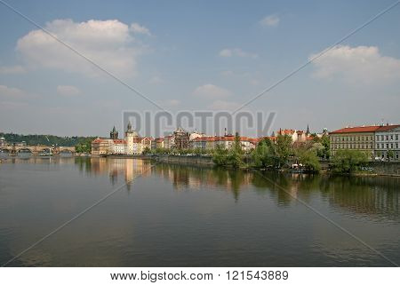 Prague, Czech Republic - April 28, 2010: Vltava River With Charles Bridge Crossing The River, Museum