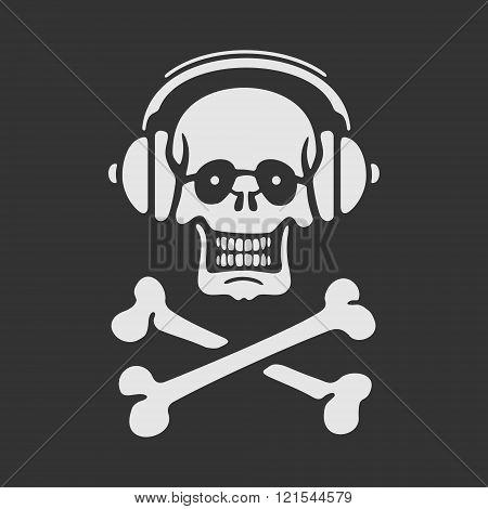 Vector Symbol Skull in Headphones