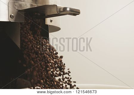 Closeup Opened Hatch Fresh Coffee Beans Fall Basket