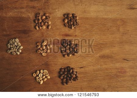 Fresh Roast Coffee Beans Different Grades Roasting Top View