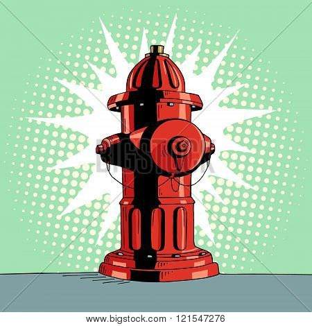 Cartoon pop art red hydrant. Comic hand drawn illustration - fire protection object hydrant for firefighter. Vector isolated on blue halftone background.