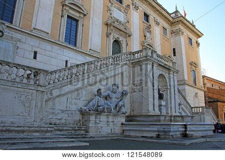 Rome, Italy - December 21, 2012: Ancient Roman Allegory Of Nile River. Capitoline Hill, Rome, Italy