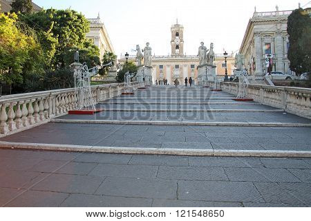Rome, Italy - December 21, 2012: Staircase Named Cordoata Leading To Capitoline Hill, Piazza Del Cam