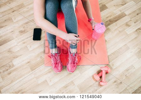 Sporty girl relax. flat lay fitness photography