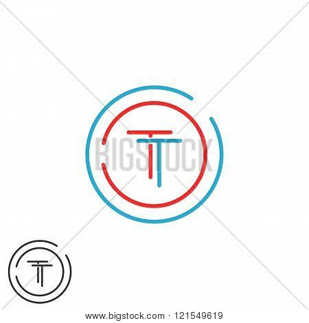 Monogram Tt Logo Letters, Two Hipster Initials Red And Blue Overlapping Thin Line Wedding Invitation