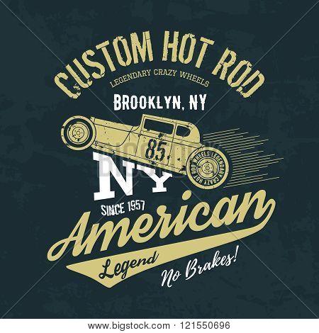 Vintage American hot rod old grunge effect