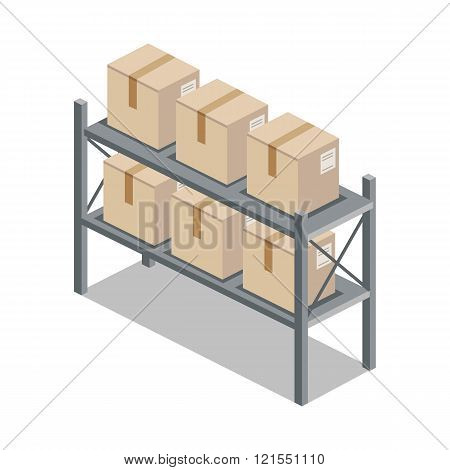 Isometric 3d shelf with cartoon box. Box and cartoon, shelving and carton box, paper box, cartoon frame, warehouse storage with box, cardboard container isometric, cargo cartoon box illustration poster