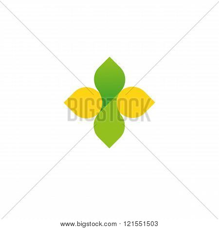 Vector sign of the cross, logo yellow and green gradient. Stylized a charitable organization or to trade drugs. Environmentally friendly product. It symbolizes the fresh and unpolluted.