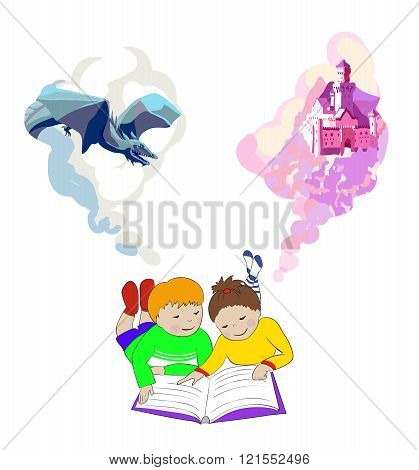 Children lying and reading book. Kids imagination.